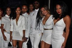 Dazzling effect: Karrueche and Christina headed up their group of friends at the raucous p...