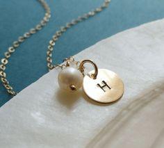 Gold Sequin Initial Charm Necklace Minimal custom by BriguysGirls, $25.50
