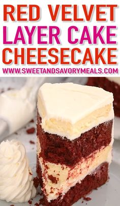 Red Velvet Cake Cheesecake (Video) - Sweet and Savory Meals - - Red Velvet Cake Cheesecake made with layers of creamy cheesecake and red velvet cake covered in cream cheese frosting, it's perfect for Valentine's Day or any other special occasion! Valentine Desserts, Köstliche Desserts, Dessert Recipes, Health Desserts, Food Cakes, Cupcake Cakes, Red Velvet Cheesecake Cake, Red Velvet Cake With Cream Cheese Frosting Recipe, Red Velvet Cake Recipe From Scratch