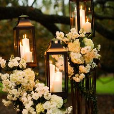 Absolutely gorgeous way to line the aisle in the evening!