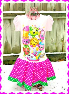 girls Shopkins dress  Calling all Shopkins fans!!! This dress will be a sure classroom favorite....as everyone loves Shopkins... 4 ready to