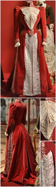 Dress belonging to Empress Maria Fyodorovna, by the fashion house of Charles Worth, Paris, 1890s. Velvet, satin, lace, silk and metal thread. The dress comes with two bodices - one  for evening, the other for day (shown here). State Hermitage Museum, via Tea Time at Winter Palace's Tumblr. CLICK FOR LARGER IMAGES.