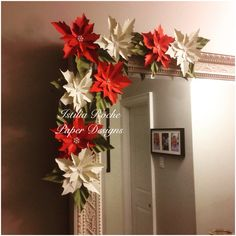 Paper Poinsettias #christmas #decor Handmade Invitations, Poinsettia, Paper Design, Candle Sconces, Paper Flowers, Christmas Decor, Wall Lights, Wreaths, Candles