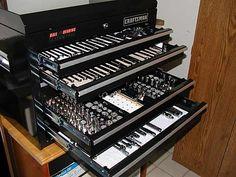 Organized tool box Tool Drawer Organizer, Garage Tool Storage, Garage Tools, Car Garage, Organizers, Mechanic Shop, Auto Mechanic, Tool Drawers, Truck Tool Box