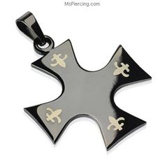 MsPiercing Black Alloy Fancy Cross Pendant