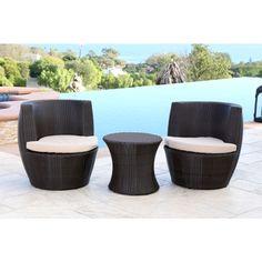 ABBYSON LIVING Newport Outdoor Espresso Brown Wicker 3-piece Bistro Chair Set