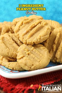 3 Ingredient Peanut Butter Cookies are soft, chewy and packed with peanut butter. This is the recipe that great grandma used to make and I am so excited to share it with you. Just stir scoop and bake. 3ingredient Peanut Butter Cookies, Peanut Butter Cookies 3 Ingredient Recipe, Peanut Butter Recipes, Yummy Cookies, Ginger Cookies, Honey Recipes, Köstliche Desserts, Delicious Desserts, Dessert Recipes