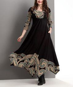 Another great find on #zulily! Black & Teal Cloud Shawl Collar Handkerchief Maxi Dress - Plus #zulilyfinds