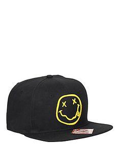 a792b803fec Nirvana Smiley Snapback Hat