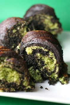 Chocolate Matcha Bundt Cake // Chocolate Mixture 1 1/2 c flour 1/2 c cocoa 1 1/2 t baking powder 1/2 t salt  Matcha mixture 1 1/2 c flour 2-3 T matcha powder 1 1/2 t baking powder 1/2 t salt  Wet ingredients 3 c sugar 1 c unsalted butter, soft 3 eggs, room temp. 1 3/4 c milk, warm 1 t vanilla Mix two different dry mix separately. Make wet mix & divide into 2. Make matcha & chocolate, 2 batters. Drop batters alternately in pan. Bake @325 for 75 min.