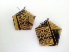 Vintage Newspaper Earrings Dangle Earrings by LeftysHandcrafts Vintage Newspaper, Newspaper Crafts, Paper Jewelry, Pretty Lights, Small Businesses, Paper Art, Dangle Earrings, Dangles, Lovers