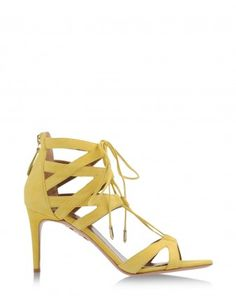 Aquazzura Yellow Suede Beverly Hills Sandal