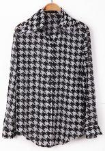 Black White Houndstooth Long Sleeve Chiffon Blouse $29.03  #sheInside