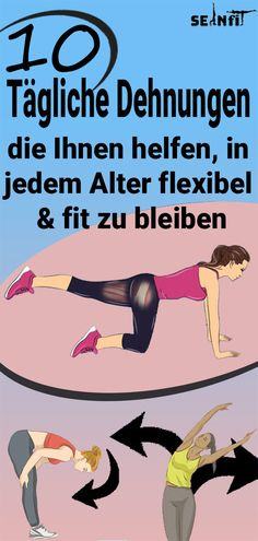10 tägliche Strecken, damit Sie in jedem Alter flexibel und fit bleiben – Sport – Keep up with the times. Fitness Workouts, Yoga Fitness, Strength Training Workouts, Sport Fitness, Interval Training, Health Fitness, Daily Stretches, Stretching Exercises, Basal Metabolic Rate