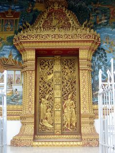 """Temple Door, Luang Prabang, Laos    Designated a UNESCO World Heritage Site in 1995, Luang Prabang is named after the golden statue that's kept here, the Prabang (the town's name means """"great holy image""""). With a long history as a center for the study of Buddhism, Luang Prabang was the first capital of Laos and has mercifully remained relatively untouched by war or even by the ravages of time; this means that many of the 33 temples are original"""