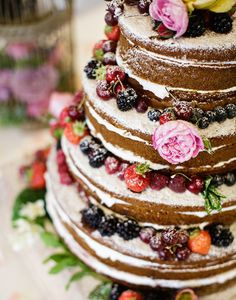 A pretty and simple naked wedding cake.