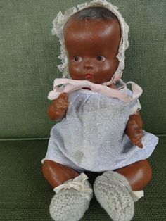 """vintage composition doll 1930's painted eyes 9"""" collectible antique baby black"""