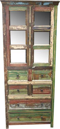 Wohnmöbelprogramm »Colorfull« mit einem Korpus aus FSC®-zertifizierter Akazie bzw. Mango. Farbfronten werden aus recyceltem Blech gefertigt. Interessante Optik. Jedes Möbel ist ein Unikat. Mit Metallgriffen.   In folgenden Farben erhältlich:  Korpus/Front: braun/bunt, Farbe Schubkästen: bunt,  Details:  2 Türen, Fachinnenmaße (B/T/H): ca. 77,5/46/25 cm, Türen mit Glaseinsatz, 5 Schubkästen, Sch...