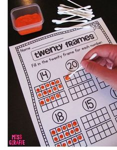 Building Number Sense in First Grade Using cotton swabs to paint ten frames and twenty frames and SO MANY MORE GREAT IDEAS on how to build number sense in First Grade and Kindergarten with a lot of pictures! Must read! Number Sense Activities, Number Sense Kindergarten, Ten Frame Activities, Kindergarten Math Stations, Number Recognition Activities, Kindergarten Pictures, Math Numbers, Learning Numbers, Teaching Teen Numbers