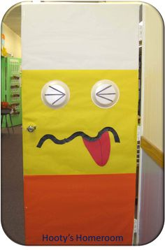 Candy Corn Monster Classroom Door Day After Halloween? Diy Halloween Door Decorations, Halloween Classroom Door, School Door Decorations, Minion Halloween, Halloween Themes, Fall Halloween, Halloween Crafts, Drug Free Door Decorations, Halloween Office