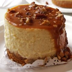 A Delicious New York cheesecakes recipe, topped with a caramel pecan sauce.. New York Cheesecakes Recipe from Grandmothers Kitchen.