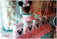 Pretty favors at a Minnie Mouse birthday party! See more party planning ideas at CatchMyParty.com!