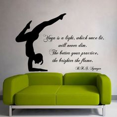 Quote Yoga Is a Light Which Once Lit Gym Art Murals Vinyl Sticker Home Interior Bedroom Sticker Decal size 22x26 Color