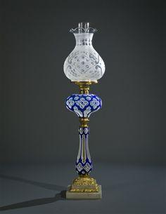 A Boston and Sandwich Cut Glass Lamp, 1865-1875.