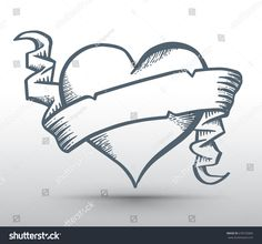 Heart with ribbon drawing banner for love concept valentine and wedding card. Vector illustration.