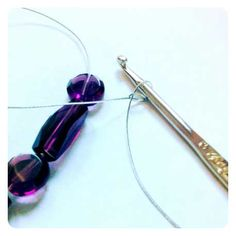 how to crochet wire jewelry with purple beads