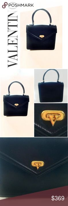 a1d05a89a07acb RARE VINTAGE BLACK LEATHER MINT VALENTINO PURSE Classic, effortless, sheik!  Mint condition!