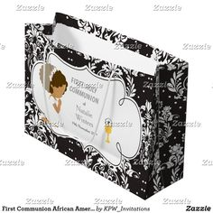 First Communion African American Girl Thank You Large Gift Bag Blonde Hair Girl, Brunette Hair, Holiday Cards, Christmas Cards, First Communion Invitations, Custom Gift Bags, African American Girl, Large Gift Bags, Christmas Card Holders