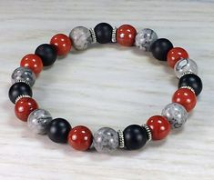 Red Jasper, Gray Crazy Lace and Matte Black Onyx with Silver Spacers