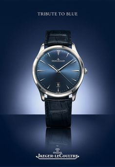 Jaeger-LeCoultre Master Ultra Thin Date steel - Bucherer Tribute to Blue - Perpetuelle Elegant Watches, Stylish Watches, Luxury Watches, Cool Watches, Watches For Men, Casio Protrek, Jaeger Lecoultre Watches, Mens Dress Watches, Watch Photo