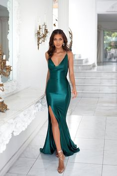 Desirae - Emerald Cowl Neck Satin Gown with Side Slit & Lace-Up Back Satin Gown, Satin Dresses, Gowns, Long Satin Dress, Prom Outfits, Mode Outfits, Evening Dresses, Prom Dresses, Formal Dresses
