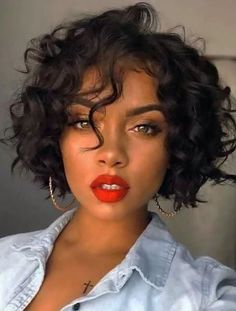 Easy Hairstyles For Medium Hair, Curly Bob Hairstyles, Loose Hairstyles, Black Hairstyles, Short Haircuts, Braided Hairstyles, Wedding Hairstyles, Fringe Hairstyle, 1950s Hairstyles