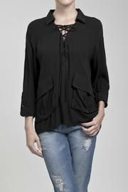 Laced Tie Collared Romantic Period Inspired Top w/ Large Pockets