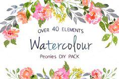 Watercolor Peonies DIY Pack by Digital art shop on Creative Market