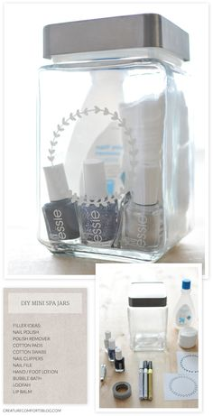 DIY mini spa jar kit - makes a great gift for friends and I love the printable in the kit!! Using for Christmas or birthdays!