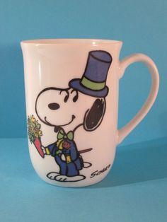Vintage Ceramic Snoopy Magician  Woodstock Schulz Signature Coffee Cup Mug