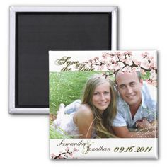 Save the Date Sage Green Cherry Blossom Magnet