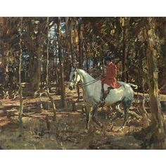 'THE WHIP, TREVELLOE WOOD, CORNWALL' | Sir Alfred James Munnings ✫ღ⊰n