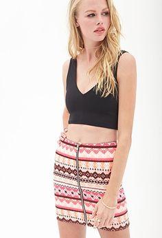 Zippered Tribal Print Skirt