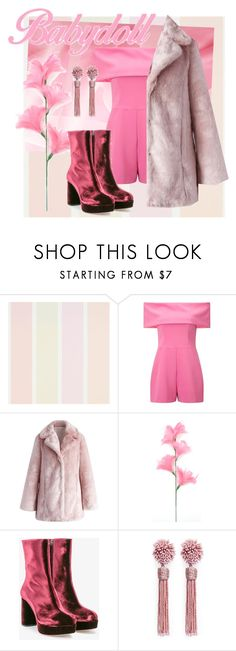 """monochrome pink"" by v-aldina ❤ liked on Polyvore featuring Miss Selfridge, Chicwish, Miu Miu and Mignonne Gavigan"