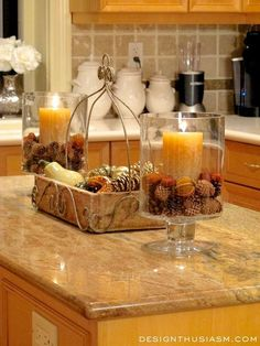 6 easy ways to ADD FALL WARMTH TO YOUR KITCHEN. Super simple tips to update for the season and lift your mood.   Designthusiasm.com #homedecor #frenchcountry
