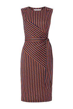 DVF Ashlie Sleeveless Faux Wrap Dress in Rickrack Khaki