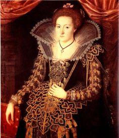 Portrait of Kirsten Munk, Countess of Schleswig-Holstein, by Jacob van Doordt 1623. Detail.