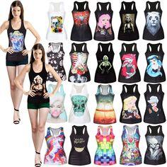 Womens Summer Print Tank Punk Tops Vest Blouse Beach Shirt Vests Skater Top New #Unbranded #TankCami #Clubwear