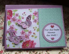 Glückwunschkarten - Karte zum Muttertag mit Schmetterlinge - ein Designerstück von Wollzottel bei DaWanda