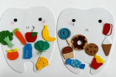 Felt sorting playset Good and Bad food for Teeth. SET ● Happy tooth ● Sad tooth ● food pieces for your choice MATERIALS Made from hard polyester felt, cord, ribbon. Completely handmade, so no two will be exactly the same. Sorting Activities, Preschool Activities, Food Activities For Toddlers, Bad Food, Hygiene, Preschool Learning, Dental Health, Felt Crafts, Crafts For Kids